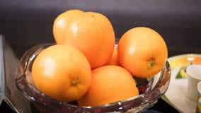Orange Fruits. On Glass Dish Royalty Free Stock Image