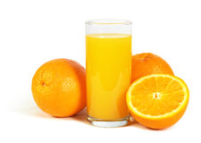 Orange fruits and glass of juice isolated on white Stock Photo