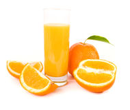 Orange fruits with green leaves Stock Image