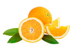 Orange Fruits with leaves Royalty Free Stock Photos