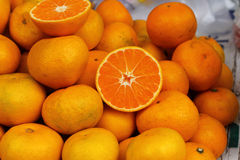 Orange fruits in the market Stock Photos