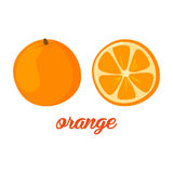 Orange fruits poster in cartoon style depicting whole and half of fresh juicy citruses  on white background Royalty Free Stock Photo