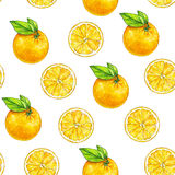 Orange fruits ripe with green leaves. Watercolor drawing. Handwork. Tropical fruit. Healthy food. Seamless pattern for design Stock Photos