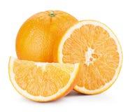 Orange fruits with slices Stock Photos