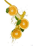 Orange fruits and Splashing juice Royalty Free Stock Photo
