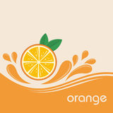 Orange. Fruits and splashing juice on  background. Vector illustration banner design or poster Royalty Free Stock Photo