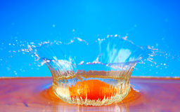 Orange fruits with Splashing water Stock Images