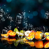 Orange fruits. And Splashing water Stock Photo