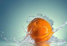 Orange fruits and Splashing Stock Images