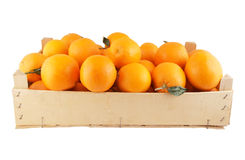 Orange fruits in wooden box Royalty Free Stock Images