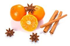 Orange frukt, kanelbruna pinnar och anisstjärnor Royaltyfri Bild