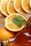 Orange frukt med skivor och läcker fruktsaft Royaltyfria Foton