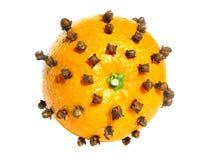 Orange frukt som dubbas med kryddnejlikakryddan Royaltyfria Bilder