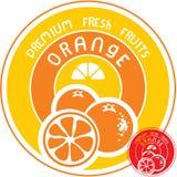 Orange fruktetikett Royaltyfria Bilder