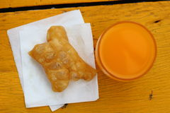 Orange fruktsaft för frukost Fotografering för Bildbyråer