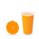 Orange fruktsaft för vektor och orange skiva Arkivfoton