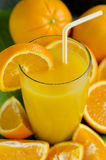Orange fruktsaft i ett exponeringsglas. Royaltyfri Fotografi