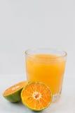 Orange fruktsaft i exponeringsglas med stycken royaltyfri fotografi