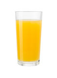 Orange fruktsaft i exponeringsglas som isoleras med den snabba banan Royaltyfri Bild