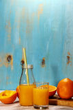 Orange fruktsaft i sommar Royaltyfri Fotografi