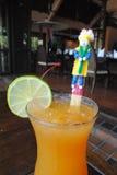 Orange fruktsaft med gullig dockauppsättning 2 Arkivbilder