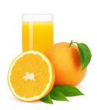 Orange fruktsaft och apelsiner med sidor. Arkivbild