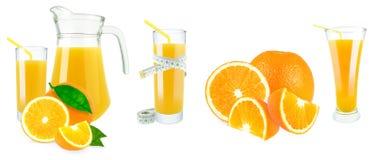 Orange fruktsaft och meter Arkivfoto
