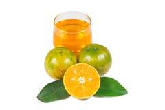 Orange fruktsaft och skivor Royaltyfri Bild