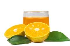 Orange fruktsaft och skivor Royaltyfria Bilder