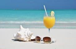 Orange fruktsaft och solglasögon Arkivbild