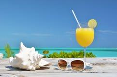 Orange fruktsaft och solglasögon Arkivfoto