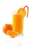 Orange fruktsaft på vit Royaltyfria Bilder