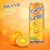 Orange fruktsaft som annonserar realistisk design Illustration för vektor 3d Arkivbild