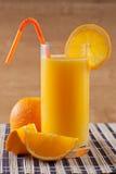 Orange fruktsaftfrukost och apelsin Royaltyfri Foto