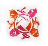 Orange and fuchsia colors platform shoes. Isolated on white Royalty Free Stock Image