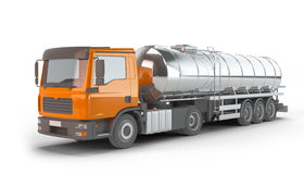 Orange Fuel Tanker Truck. Isolated on white background Royalty Free Stock Photography
