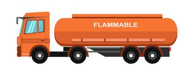 Orange fuel truck Royalty Free Stock Images