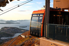 Orange funicular and panorama of Dubrovnik Royalty Free Stock Photo
