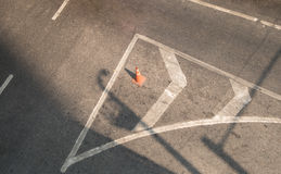 Orange funnel on the road sign drive be careful Royalty Free Stock Photo