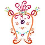 Orange funny monster, fashionable girl royalty free illustration