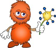 Orange furry creature with a flower Stock Photos