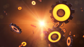 Orange futuristic gear steampunk concept - gear wheel explosion. Orange cogwheel explosion 3D illustration Stock Image
