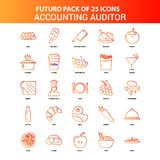 Orange Futuro 25 redovisande revisor Icon Set royaltyfri illustrationer