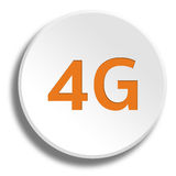 Orange 4G in round white button with shadow Royalty Free Stock Photography