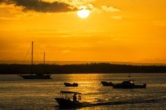 Orange Galapagos Sunset Royalty Free Stock Photos