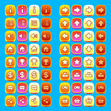Orange game icons buttons icons interface, ui Stock Photography