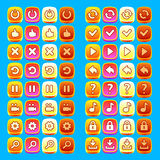 Orange game icons buttons icons interface, ui Royalty Free Stock Image