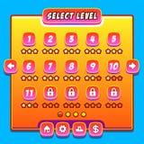 Orange Game Menu Level Interface Panels Ui Buttons Royalty Free Stock Photos