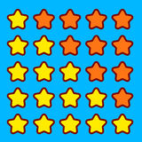 Orange game rating stars icons buttons interface Royalty Free Stock Images