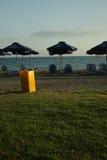Orange garbage bin. On a grass near sand beach stock images